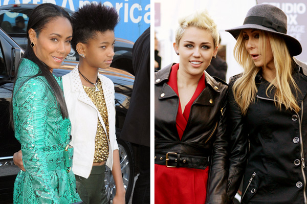 Jada Pinkett Smith and Willow Smith and Miley Cyrus and Trish Cyrus