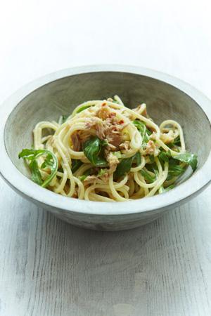 Spaghetti with Tuna, Lemon & Arugula