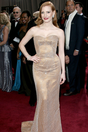 Jessica Chastain at the 2013 Oscars