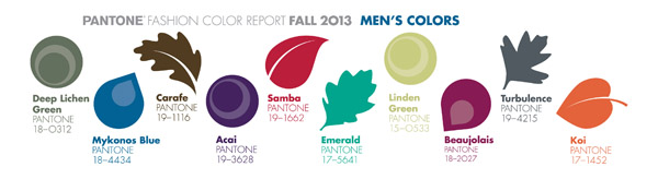 Pantone Color Report 2013 Men's Colors