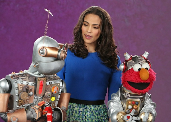 Paula Patton stops by Sesame Street.