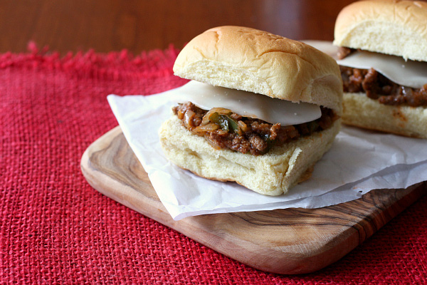 Philly cheesesteak sloppy Joe sandwich