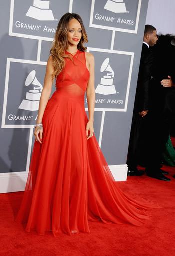 Red Azzedine Alaia Dress Azzedine Alaia Grammy gown