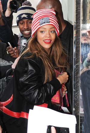 Rihanna leaves a hotel