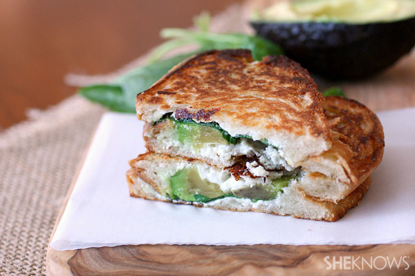 Goat cheese, spinach and avocado grilled cheese
