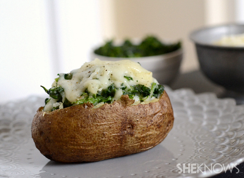Cheesy spinach dip double baked potatoes