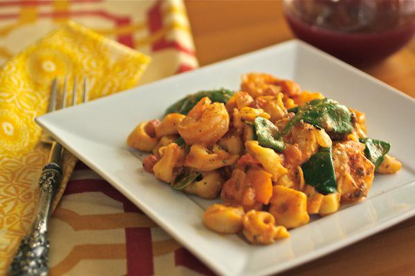 Tortellini, shrimp and spinach in creamy tomato sauce