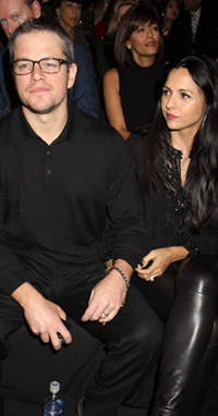Matt Damon and wife at NYFW 2013