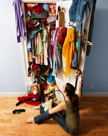 Woman with messy closet