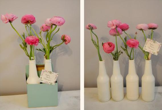 Easy painted beer bottle vases
