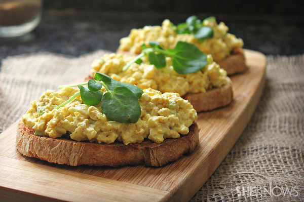 Open-faced curried egg salad sandwich recipe
