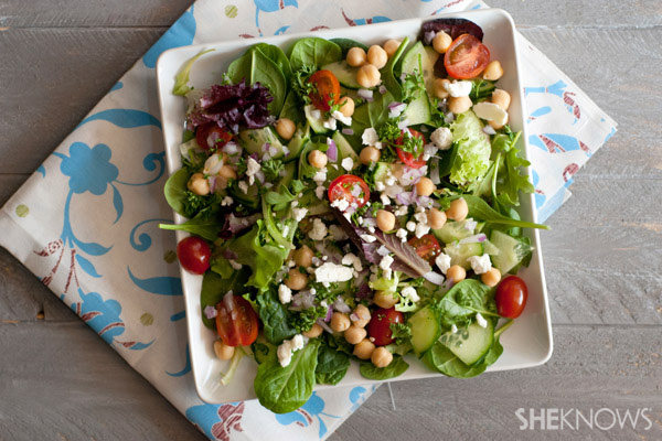 Chickpea salad with fresh herbs and feta recipe