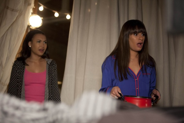 Rachel and Santana in Glee