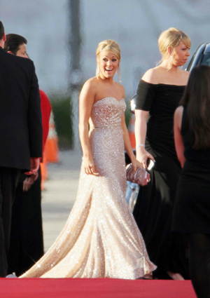 Carrie Underwood in 2011 at the Golden Globes