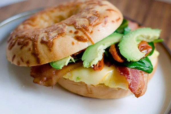 A monstrous breakfast bagel