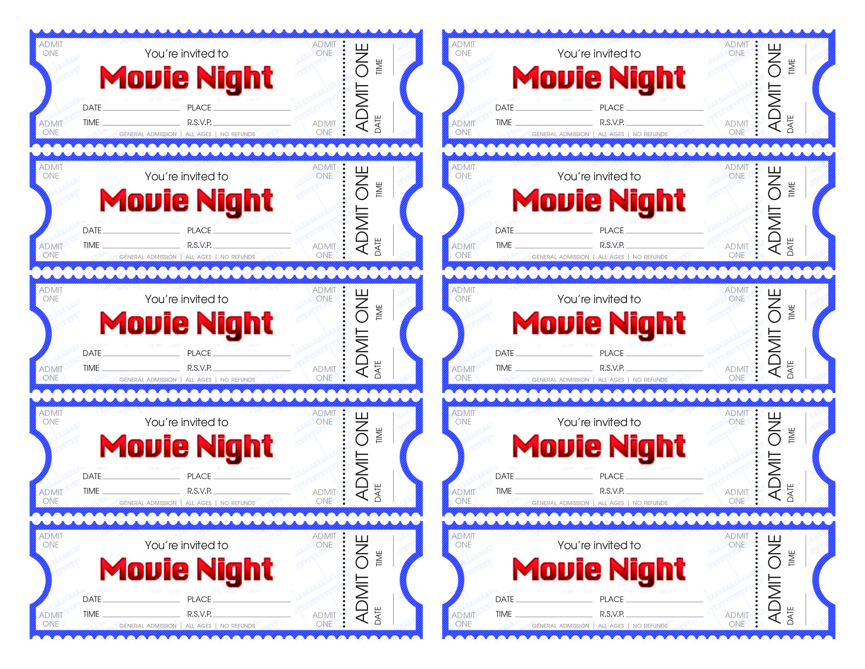 Download and print our movie ticket template to make your movie night