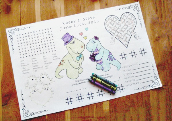 Coloring wedding placemats