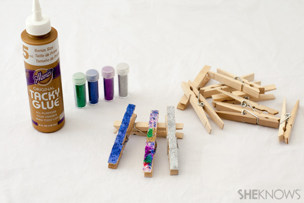 Glitter clothes pins