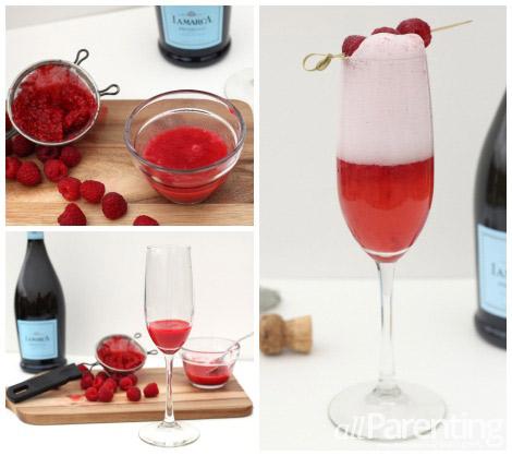 Raspberry bellini collage