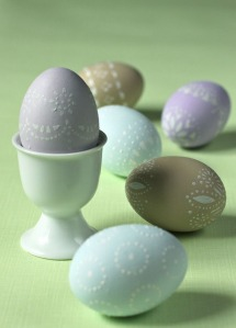 stenciled Easter eggs