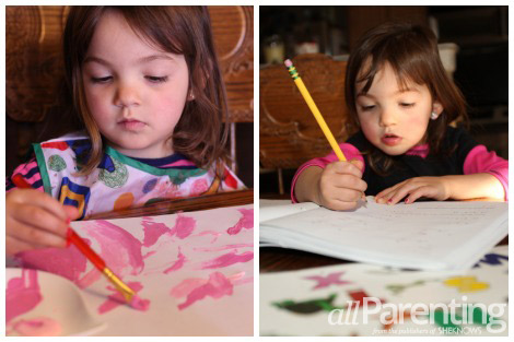 Homeschooling painting and workbooks