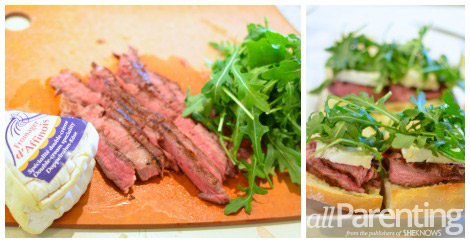 Mini Brie, steak and arugula sandwiches