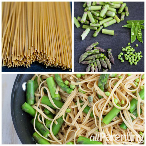 Pasta primavera with asparagus and spring peas collage