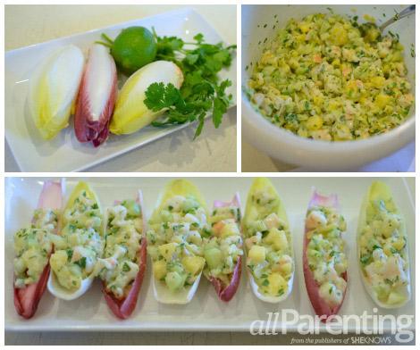 Pineapple shrimp salad endive spears collage