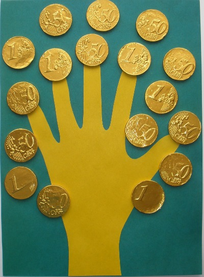 St Patricks Day handprint coins