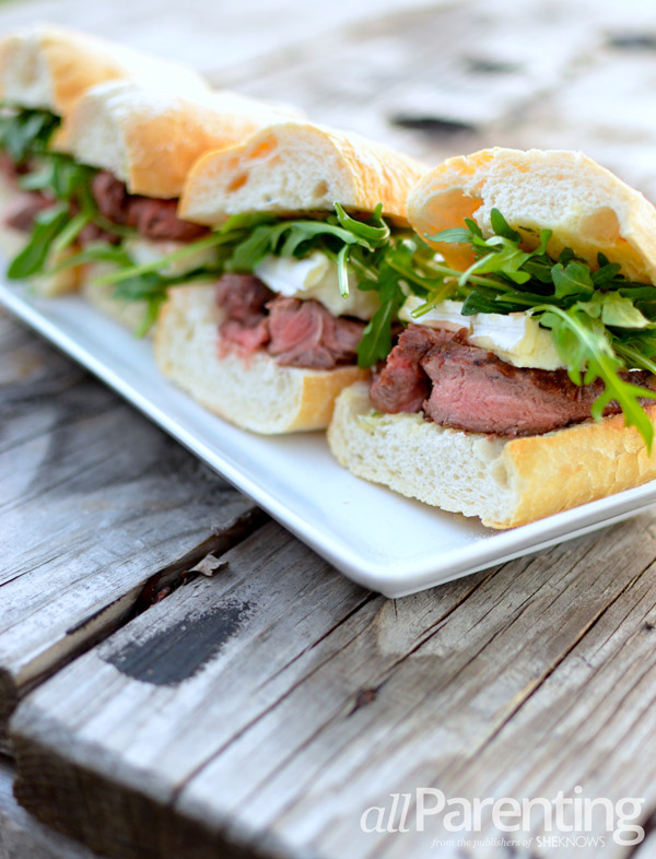 allParenting Mini Brie, steak and arugula sandwich