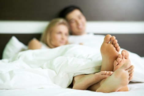 couple in bed early morning