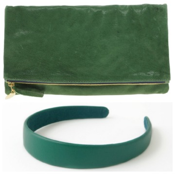 Emerald clutch and headband collage