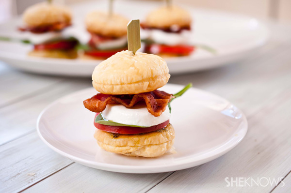 Combine a classic BLT sandwich with an Italian caprese salad for a ...