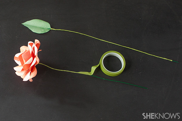 Add floral tape to the wire stems