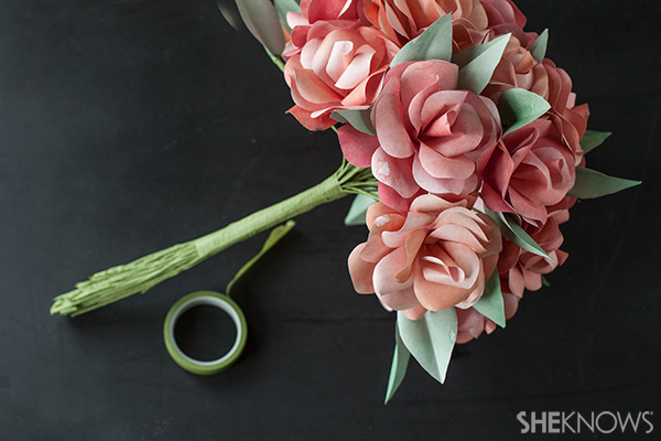 Floral tape wrapped around the base of the bridal bouquet