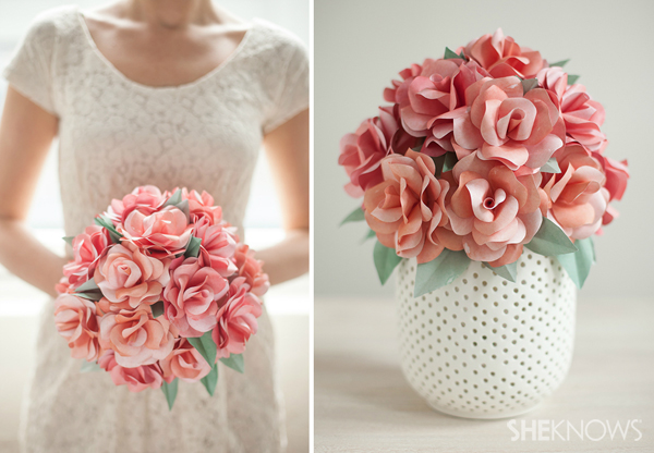DIY paper rose bridal bouquet