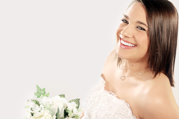 Bride with beautiful white smile