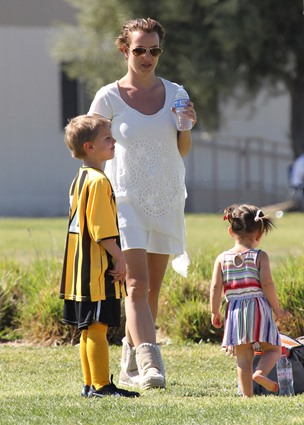 Britney Spears and her son at a soccer match