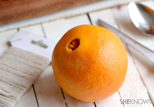 Orange peel bird feeder