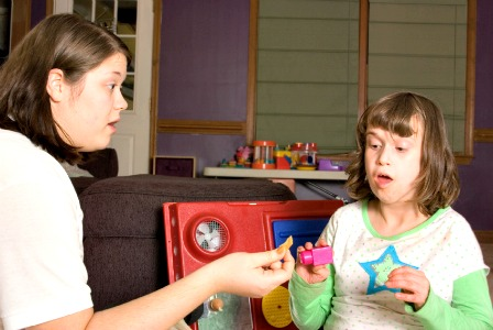 Child with autism in therapy