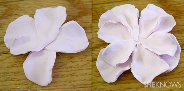 DIY clay flower for milk glass vases