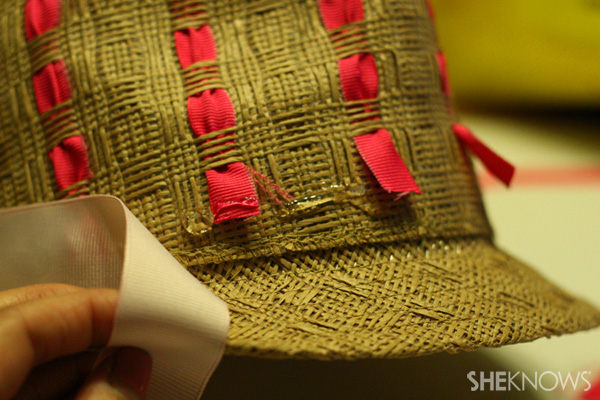 DIY ribbon straw fedora