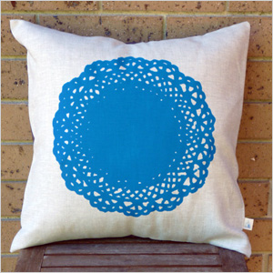 colorful doily-print pillows