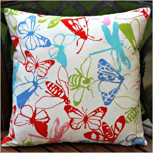 colorful bug-print pillow cove