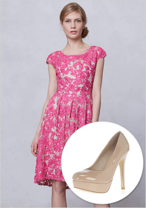 Pink lace dress and shoes
