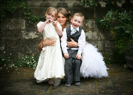 Flower girl and ring bearer with bride