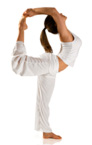 Girl in white stretching in yoga pose