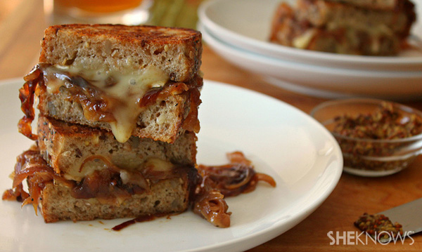 Grilled cheese sandwich with brie and red onion marmalade