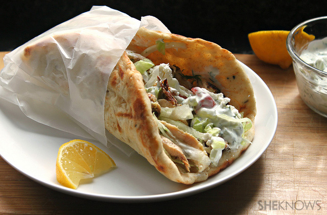 Grilled Greek chicken pitas with simple tzatziki sauce sauce