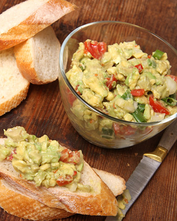 guacamole and goat cheese appetizer